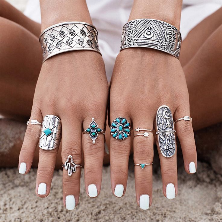 9Pcs/Set Boho Sliver Punk Turquoise Midi Ring Womens Retro Geometry Finger Rings -- BuyinCoins.com