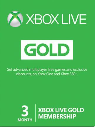 17.00 USD     BUY NOW               Xbox Live GOLD Subscription Card XBOX LIVE GLOBAL 3 MONTHS. PRICE   Maximize your experience with the Xbox Live. Xbox 360 and Xbox One. Xbox Live Gold opens up all the perks and services you need to push Xbox gaming to its limits.Xbox Live Gold allows you to go online and connect to your friends, share your gameplay on Twitch with no problem at all. Xbox Live Gold 3-month subscription grants you full access to all the features on offer.