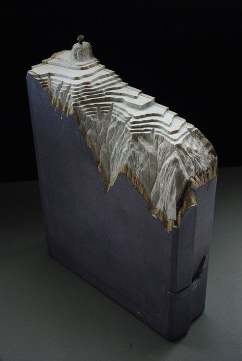 Artist Guy Laramee carves sculpture out of books