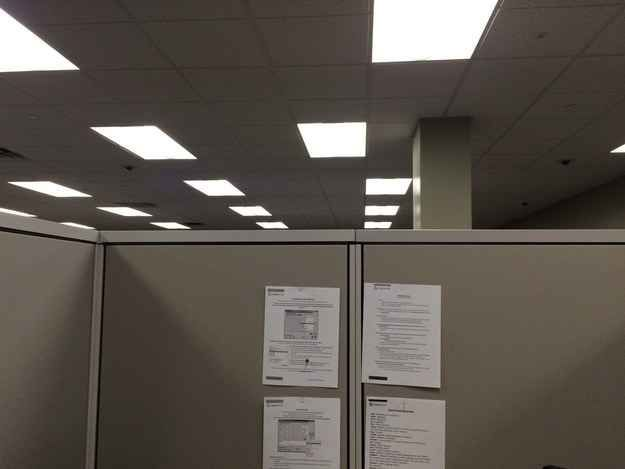 Lights that are wrong. Just wrong. | 45 Photos That Will Annoy You More Than They Should......... holy crap, this is where I work. Not joking, those papers are in every station at my work.