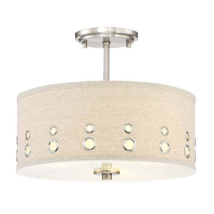 Quoizel Park Avenue 14 In W Brushed Nickel Fabric Semi Flush Mount Light