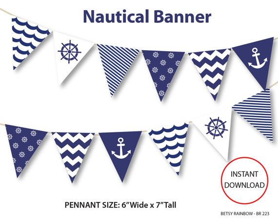 Nautical banner, printable banner, nautical, DIY party, navy blue nautical bunting pennants - BR 223