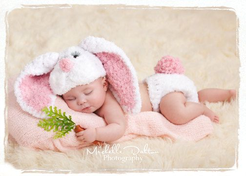 Bunny hat with floppy ears  and diaper cover