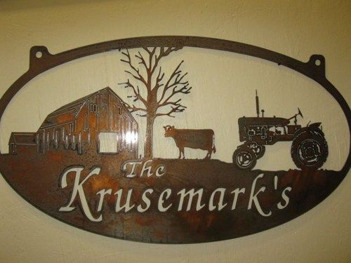 Metal sign with cow , barn and tractor personalized