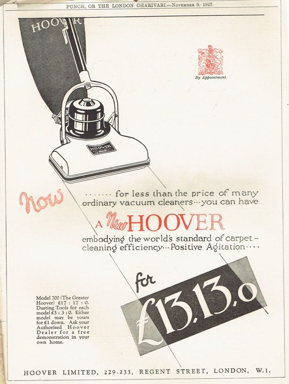 Original Vintage Print 1927 Hoover Vacuum Clearner Full Page Advertising Retro Cleaning Equipment