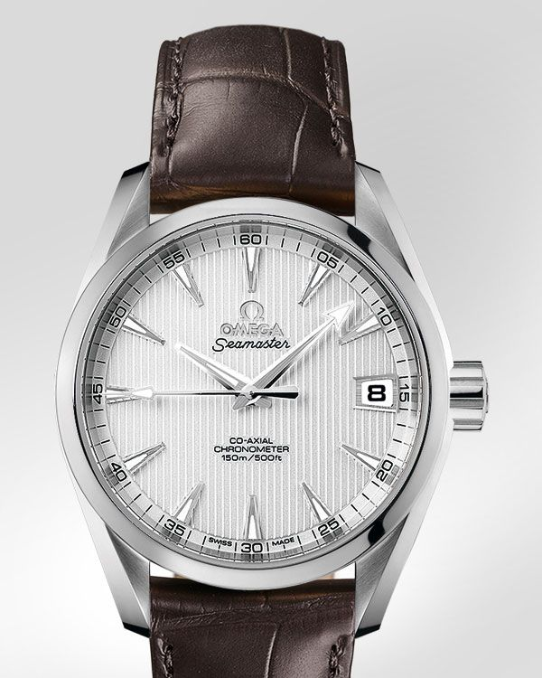 OMEGA Watches: Seamaster Aqua Terra 150 M Omega Co-Axial 38.5mm - Steel on leather strap - 231.13.39.21.02.001