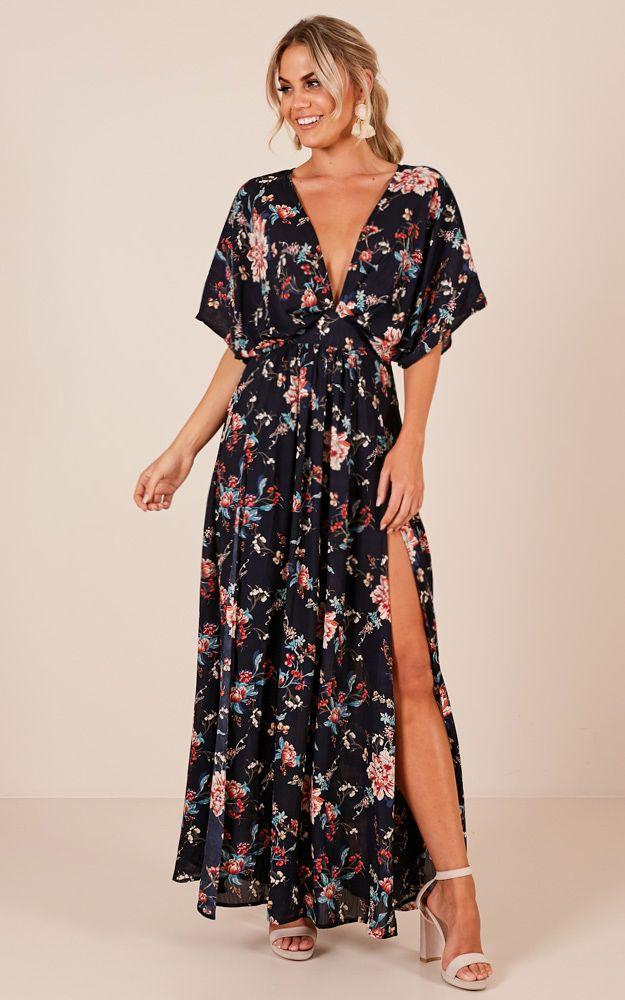 6e92c604922 Showpo Vacay Ready Maxi dress in navy vintage floral - 20 (XXXXL) Maxi