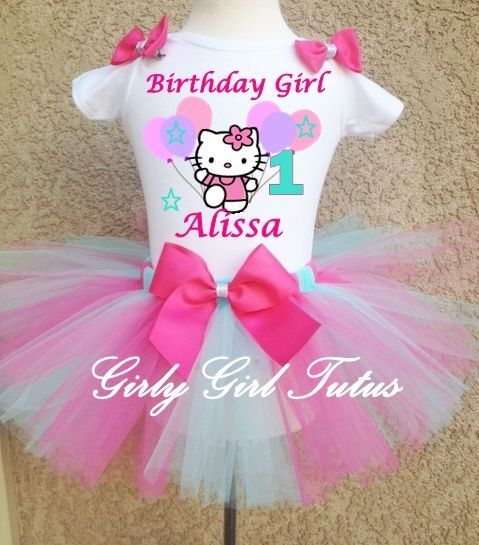 #hellokitty blue/hot pink 1st birhday tutu outfit party dress set from $32.0