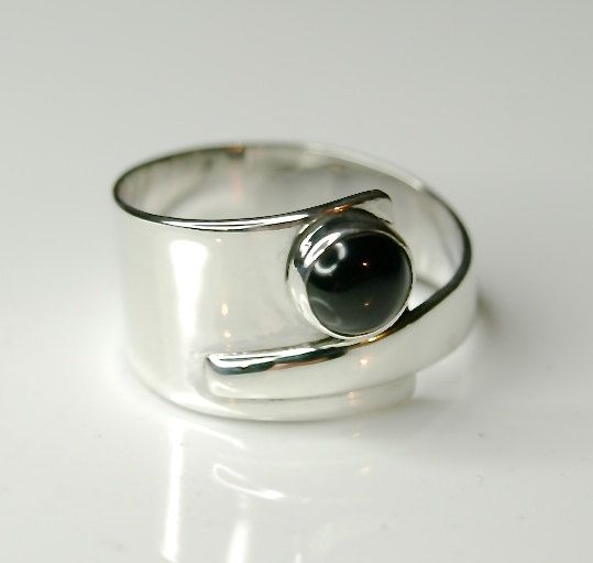 Black onyx ring, Sterling silver overlapping ring - wide ring unique design by EvokeJewellery on Etsy