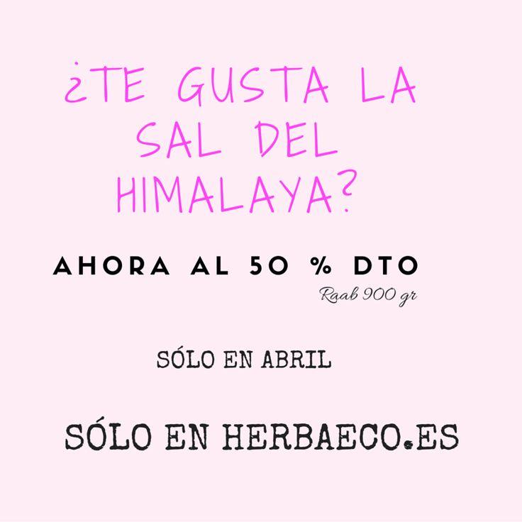 ¡Hola a todos! En abril tenemos la #oferta promocional en #herbaeco, la #tiendaonline #paleo y #ecológica de la #saldelHimalaya al... ¡¡50% descuento!! Aprovecha la #oportunidad y visítanos en http://herbaeco.es/