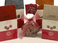 Daniel's specialty boxes include Chai-vanilla Truffles, Cherries in Kirsch, Orangettes and chocolate covered ginger