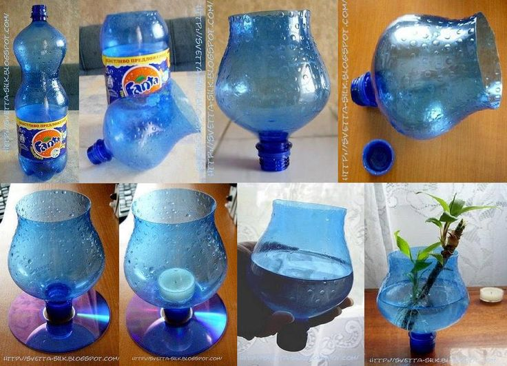 Soda bottle and cd upcycled into a vase