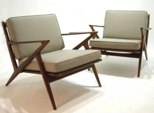 Atlanta Pair Mid Century Danish Modern Selig Z Chairs 3000