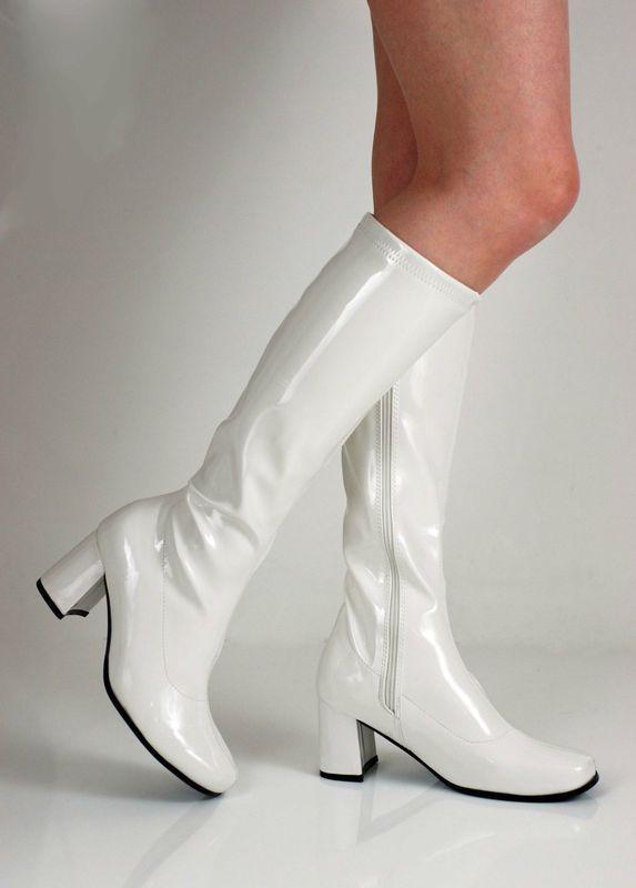 Ladies Retro 60`s Knee High Wedge Heel White Zipped Shiny Go Boots Sz 4//5//6// 7//8