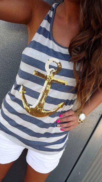 Gold Sequin Anchor Tank
