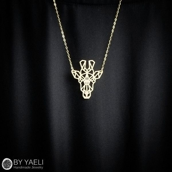 Giraffe necklace, animal necklace, geometric necklace, gold necklace,... (2.885…