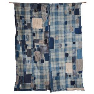 BORO textile- Old Japanese indigo Futon cover. Material: hand loomed medium weight cotton Age: early C20th  Dimensions: 115cm wide x 155cm long  Code - ZZI14018
