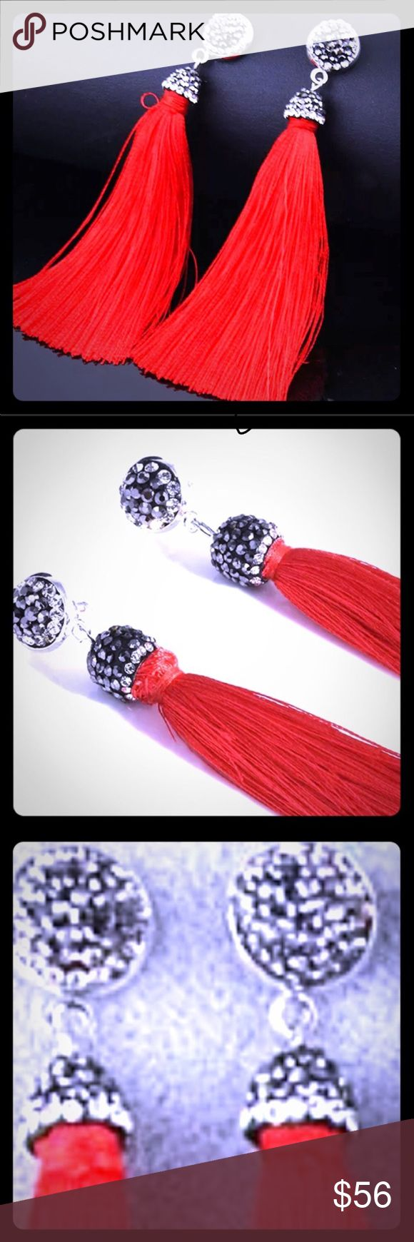 "SILK TASSELS & SWAROVSKI EARRINGS 🆕 RED EARRINGS IN THE TRUE STYLE        DEFINITION OF ""BOHO CHÍC"" !! 💋LONG SILK THREAD TASSELS         ADORNED WITH SWAROVSKI GRAY &         CLEAR STONES.  💋PIERCED, POST BACK                        ☮️☮️☮️ 🤩I WILL NEVER BLOCK YOU OR BE       ANGRY FOR AN OFFER BEING TO LOW! 🤩IF YOUR OFFER IS TOO LOW, I WILL          SIMPLY REPLY                   🤩🍾🎉✌🏼❤️😻☮️🦋                 20% OFF PURCHASE OF                   3 or MORE ITEMS WITH…"
