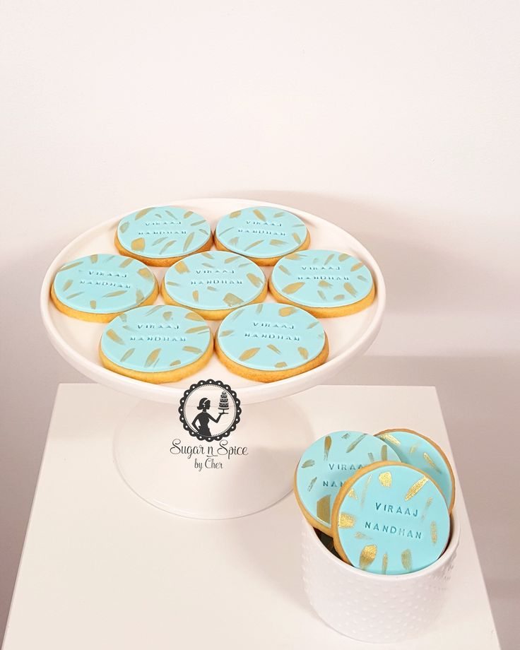 Teal cookies with gold brush highlights #sugarnspicebycher