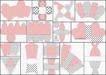 Pink, White and Black Stripes and Polka Dots: Free Printable Boxes.