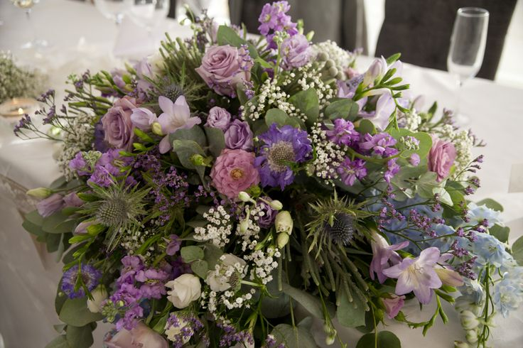 Flowers on the top table, CA wedding, UK, summer 2016. #wedding #photography by Lucy Munday. See more and contact at www.lucymunday.com