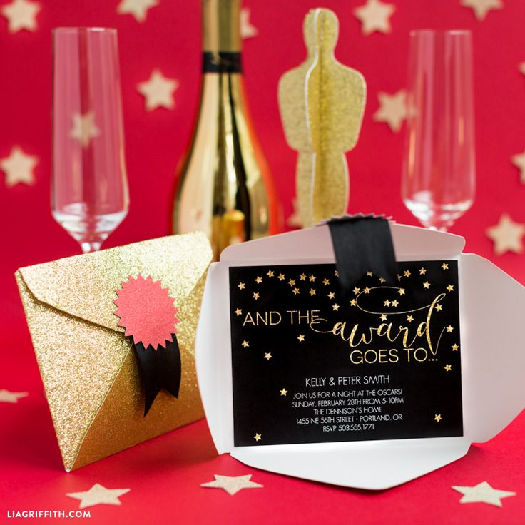 Plan your own Oscar Party and celebrate in style for the 88th Annual Academy Awards These printable invitations will get you on your way! By Lia Griffith.