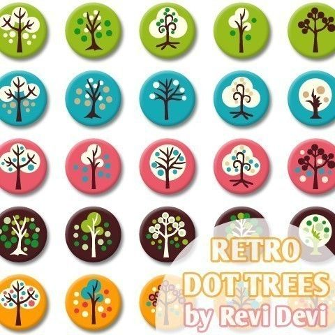 Retro Dot Trees 16295  Bottlecap size 1.313x1.313 by BlessedShop