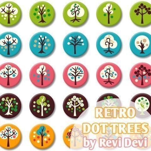 Retro Dot Trees 16295  Bottlecap size 1.313x1.313 by BlessedShop