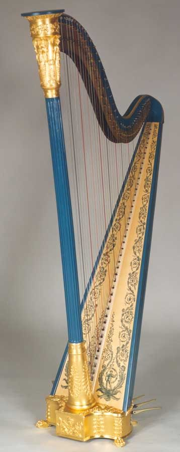 John Egan's blue and gold pedal harp. Lot of re-pins so here's RESEARCH to give different info - DdO:) - http://www.pinterest.com/DianaDeeOsborne/instruments-for-joy/ - Harps lost popularity in Europe against the harpsichord. In the Classical & Romantic music period, musicians added double & triple strings and harps became popular again. Egan became sole manufacturer of pedal harps in Ireland's capital until 1816. This was Hand painted in Dublin ~1829. Lovely musical instrument.