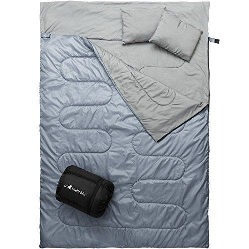 MalloMe Double Camping Sleeping Bag - 3 Season Warm & Cool Weather - Summer, Spring, Fall, Lightweight, Waterproof For Adults & Kids - Camping Gear Equipment, Traveling, and Outdoors - 2 Free Pillows! #MalloMe #Double #Camping #Sleeping #Season #Warm #Cool #Weather #Summer, #Spring, #Fall, #Lightweight, #Waterproof #Adults #Kids #Gear #Equipment, #Traveling, #Outdoors #Free #Pillows!