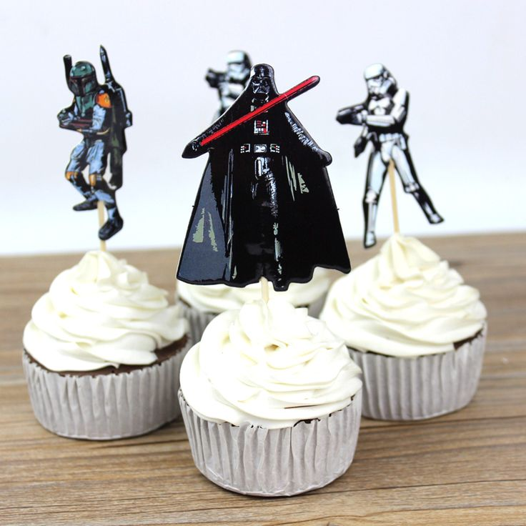 72pcs The Star Wars Party Supplies Cartoon Cupcake Toppers Pick Birthday Decoration Kids Party Favors