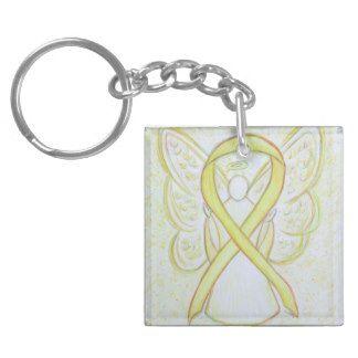 Yellow Awareness Ribbon Angel Custom Art Keychains
