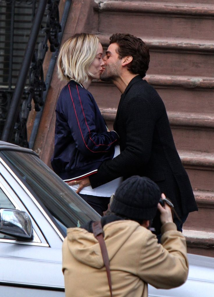 "Oscar Isaac & Olivia Wilde on the set of ""Life Itself"" in NYC."
