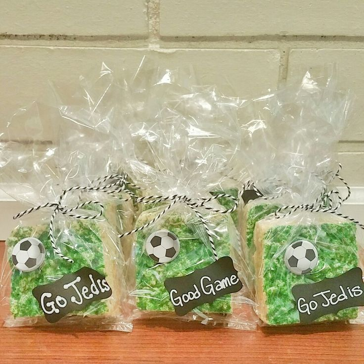 Soccer snacks... rice Krispy treats with green sugar and cute packaging :)