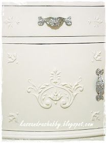 DIY:  How to Add Raised Details with Joint Compound and a Stencil - this is a quick and inexpensive way to add a French shabby chic look to your furniture - Kassandra Shabby
