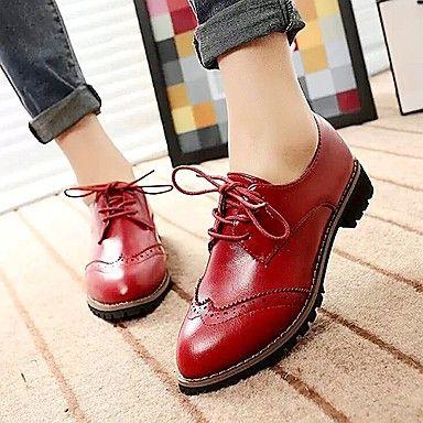 Oxfords ( PU , Negro/Marrón/Vino )- Bajo (3/4 de pulgada a 1 1/2 pulg) - Tacón bajo para Zapatos de mujer – EUR € 14.99