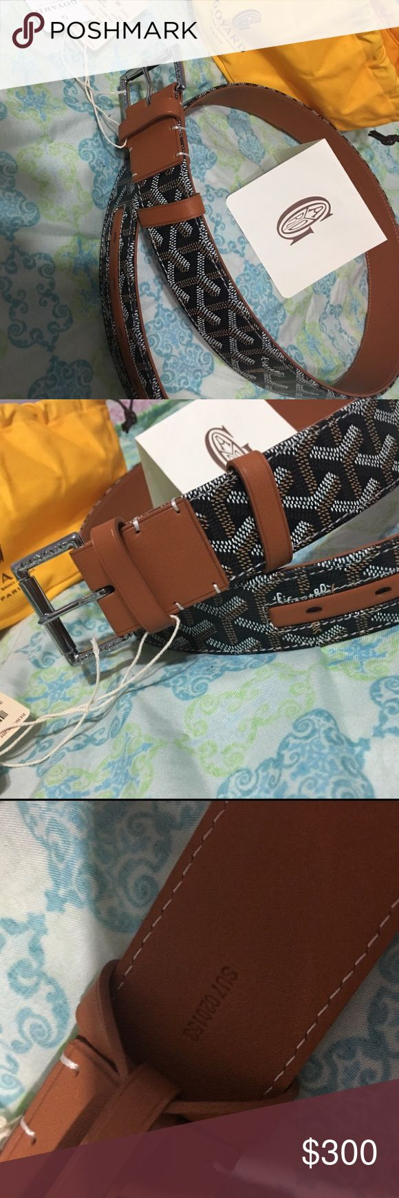 Goyard belt 100% authentic brand new goyard belt. Comes with dust bag and tags. Comment below for size or message me for more information at 3476088710 Goyard Accessories Belts