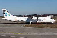 Avanti Air ATR 72-202 D-ANFE aircraft, with the inscription ''THIS IS PLAYOFF'', skating at Germany Hamburg Fuhlsbuttel International Airport. 12/03/2015.