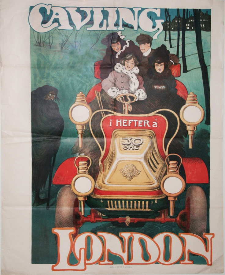 En fin gammel bil.    Original retro-plakat fra Forlaget Gyldendals gemmer.
