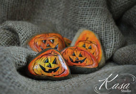 Halloween Pumpkin DecorationPebble/Stone Hand by KasaStudioDesigns