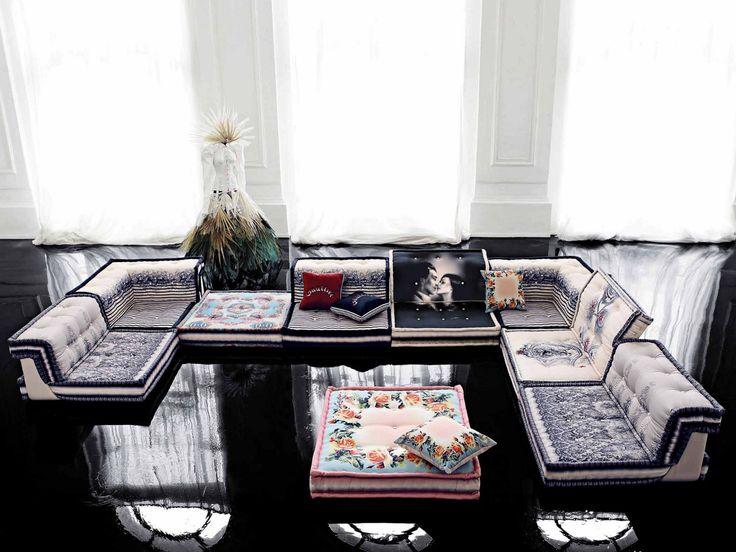 Canapé modulable en tissu MAH JONG COUTURE by ROCHE BOBOIS design Hans Hopfer Gaultier