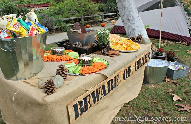 Camping themed birthday party, cute food table. #nature themed party #hiking birthday party #camping themed party