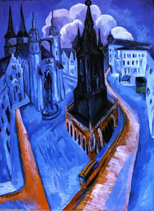"Urban: Ernst Ludwig Kirchner (1880-1938, Germany) Ernst Ludwig Kirchner was a German expressionist painter and printmaker and one of the founders of the artists group Die Brücke or ""The Bridge"", a key group leading to the foundation of Expressionism in 20th-century art."