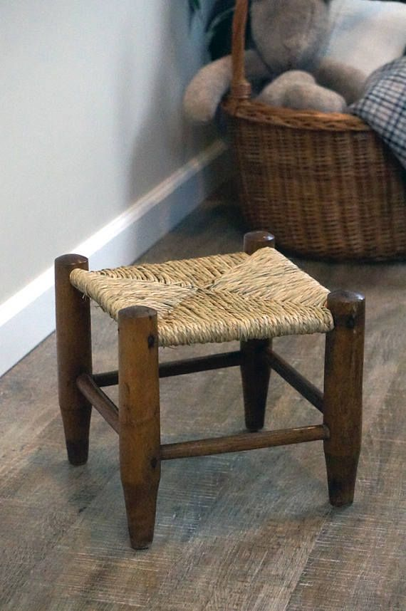 Vintage natural rush stool small footstool kitchen stool