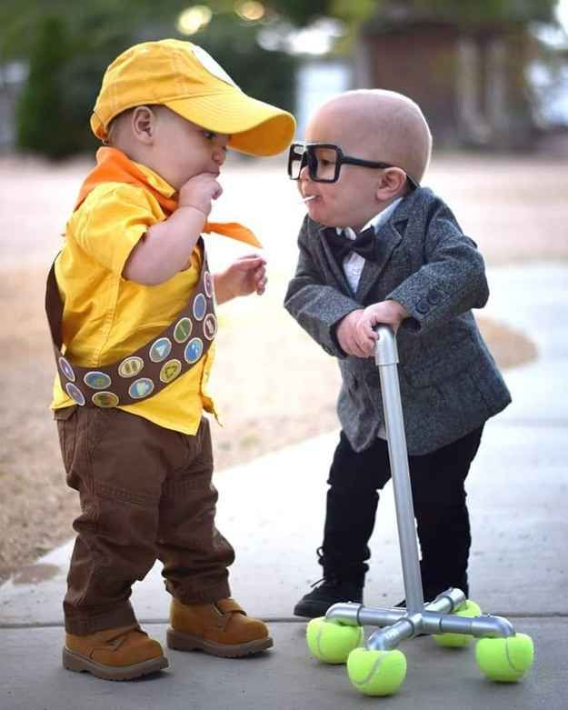 These kids as Russell and Carl Fredricksen from Disney's Up.  OMG IT'S JUST SO CUTE!