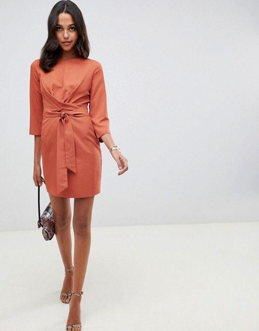 ccbbedaba4a DESIGN tie wrap around mini dress in 2019