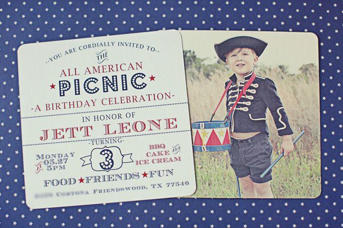 Patriotic Picnic Party   Cute Invite
