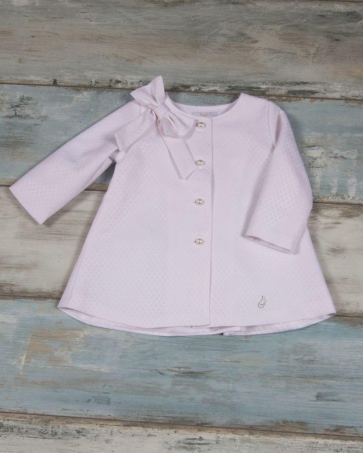 Coat white pique with bow (70%cotton 30%pl) with inner lining