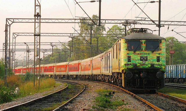 Duronto liveried WAP7 30246 with the 2952 Mumbai Rajdhani Express