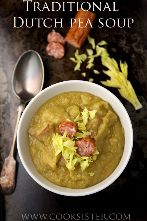 Traditional Dutch split pea soup - thick, hearty and delicious |  cooksister.com